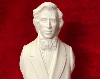 Bust of Frederic Chopin in ceramic bisque ready to paint
