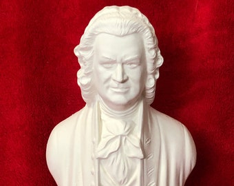 Bust of Johann Sebastian Bach in ceramic bisque ready to paint