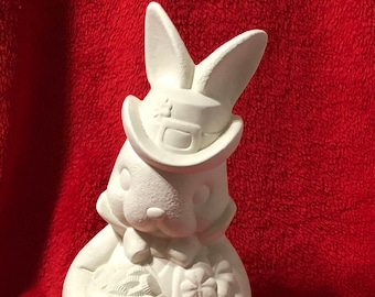 Clay Magics Saint Patrick Day Rabbit in ceramic bisque ready to paint