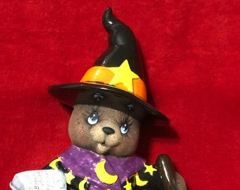 Clay Magic's Glazed and Dry Brushed Female Witch Bear using Mayco Softee Stains