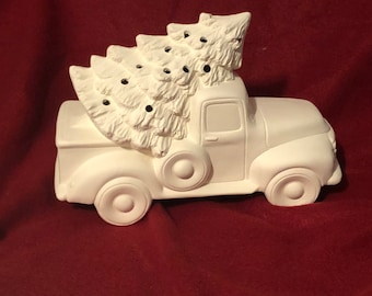 Vintage Pickup Truck and tree with holes ready to paint