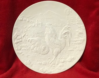 Farm Yard Chickens and Barn Scene Plate or Wall Hanging Ceramic Bisque ready to paint