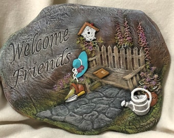 Dry Brushed Ceramic Welcome Friends Wall Plaque using Mayco Softee Stains