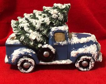 Ceramic Blue Vintage Pickup Truck with Tree