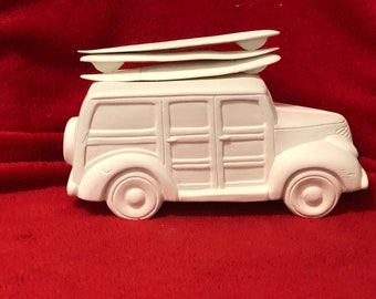 Old Time Woody with Surf Boards in ceramic bisque ready to paint