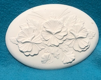 Set of 2 Pansies Inserts for Ceramic Basket Bisque