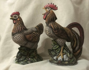 Ceramic Rooster and Hen Set