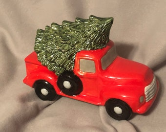 Glazed Ceramic Truck with Tree