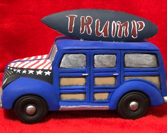 Dry Brushed Ceramic Biden Campaign Car using Mayco Softee Stains