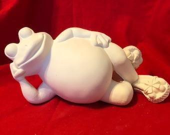 Ceramic Flip Flop Frog in bisque ready to paint by jmdceramicsart