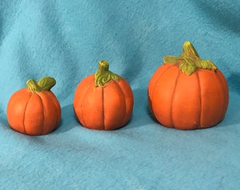 Set of 3 Pumpkins Ceramic Art