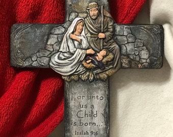 Dry Brushed Ceramic Nativity Cross using Mayco Softee Stains