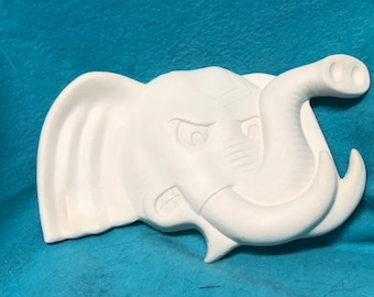Elephant Ceramic Bisque Wall Hanging