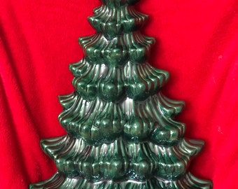 Rare Atlantic Molds Wall Hanging Ceramic Glazed Christmas Tree with holes for lights