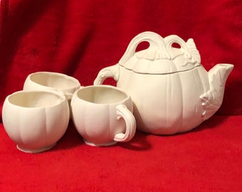 Rare 5 Piece Ceramic Pumpkin Pitcher and Cup Set in bisque ready to paint