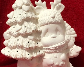 New Claymagic Ceramic Snowman with Tree and hearts Bisque ready to paint