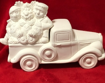 New Clay Magic Jalopy Pickup Box with Halloween Monsters Lid in ceramic bisque ready to paint