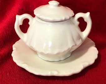 Very Rare Miniature Milk Glass Glazed Ceramic Pot and Saucer, 3 piece set