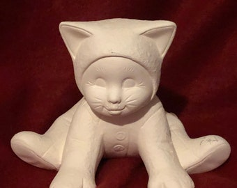 Ceramic Kitty Cat Kid in bisque ready to paint