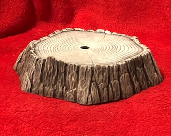 Drybrushed Ceramic Stump Base using Mayco Softee Stains with holes for light kit