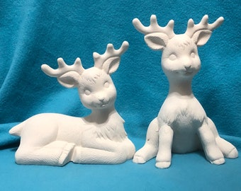 Set of Ceramic Reindeer Bisque ready to paint