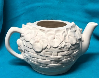 Flower Tea Pot Ceramic Bisque