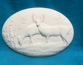 Set of 2 Deer Inserts for Donas Basket Ceramic Bisque