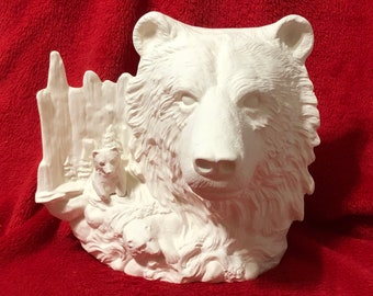 Bear Bust and scene in ceramic bisque ready to paint