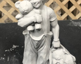 Teddy Bear Clown in ceramic bisque ready to paint