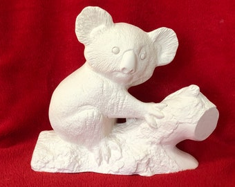 Duncan Molds Koala Bear sitting on a Limb in ceramic bisque ready to paint