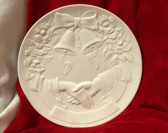 Ceramic Wedding Plate Wall Hanging in bisque ready to paint