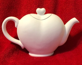 Vintage Ceramic Heart Shaped Teapot in bisque ready to paint
