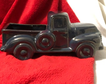 Glazed Ceramic Vintage Truck jewelry box or candy dish