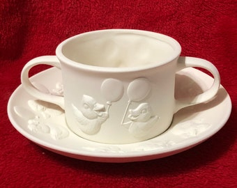 Very Rare 2 piece set Ceramic Little Ducky Cup and Saucer in bisque ready to paint