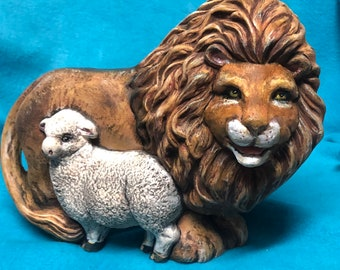 Lion and Lamb Ceramic Bisque