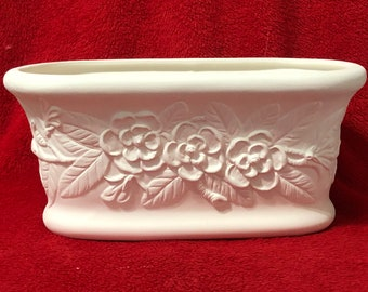 Floral Planter in ceramic bisque ready to paint