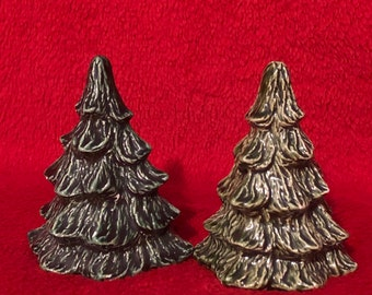 Set of 2 Small Glazed Ceramic Christmas Trees
