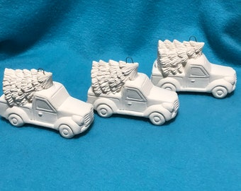 Set if 3 Ceramic Classic Pickup Trucks with Trees Bisque Ornaments ready to paint and hang on tree