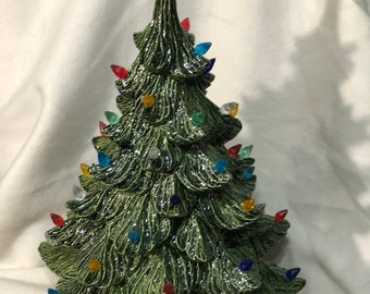 Glazed Multicolor Ceramic Christmas Tree with Red Star