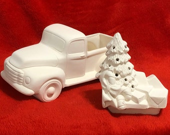 Ceramic Christmas tree and presents bisque insert for classic pickup