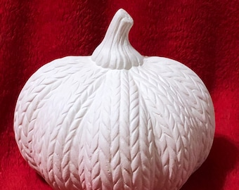 Ceramic Knitted Pumpkin in ceramic bisque