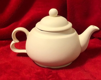 Very Rare Vintage Ceramic Teapot with Heart Handle in bisque ready to paint