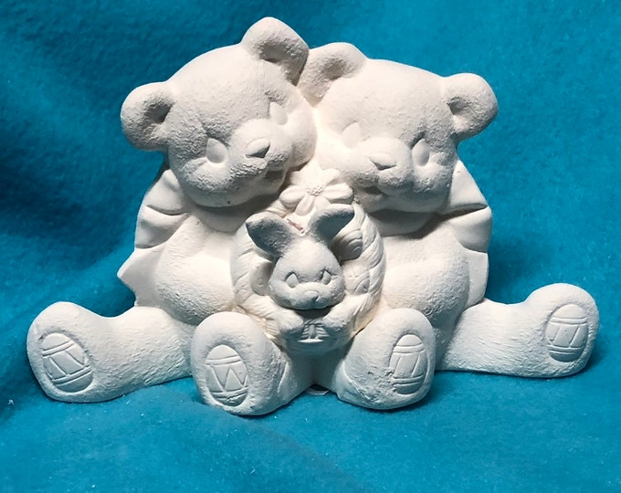 Bears with Easter Bunny Ceramic Bisque