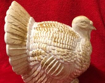 Milk Glass Glazed Ceramic Scioto Turkey with Brushed Gold