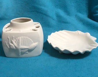 Glazed Ceramic Sea Shell Toothbrush Holder and Soap Dish