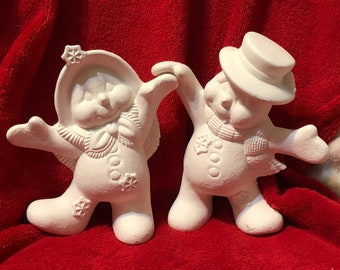 Clay Magics Snow Couple in ceramic bisque ready to paint