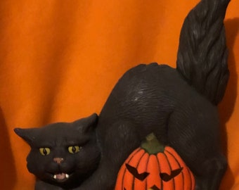 Halloween Cat and Pumpkin with cutouts for light