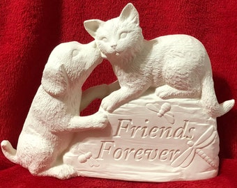 Friends Forever in ceramic bisque ready to paint