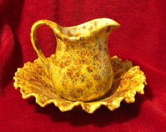 Rare Vintage Glazed Ceramic Pitcher and Bowl (1 piece)