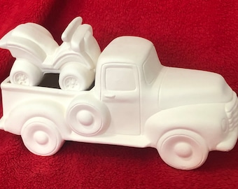 Classic Pickup Truck with ATV in ceramic bisque ready to paint